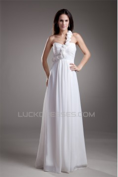 Chiffon Satin One-Shoulder A-Line Sleeveless Floor-Length Wedding Dresses 2031202