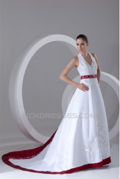Halter Sleeveless A-Line Satin Best Wedding Dresses 2031203