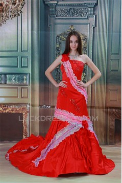 One-Shoulder Satin Sleeveless A-Line Wedding Dresses 2031204