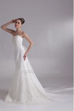 Trumpet/Mermaid Satin Lace Taffeta Sweetheart Sleeveless Wedding Dresses 2031205
