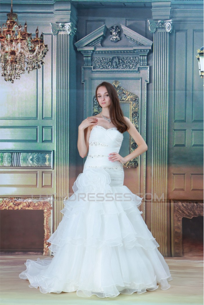 Satin Organza Short Sleeve Mermaid/Trumpet Wedding Dresses 2031206