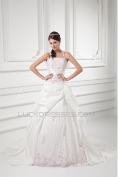 Sleeveless Halter Taffeta Ball Gown Wedding Dresses 2031207