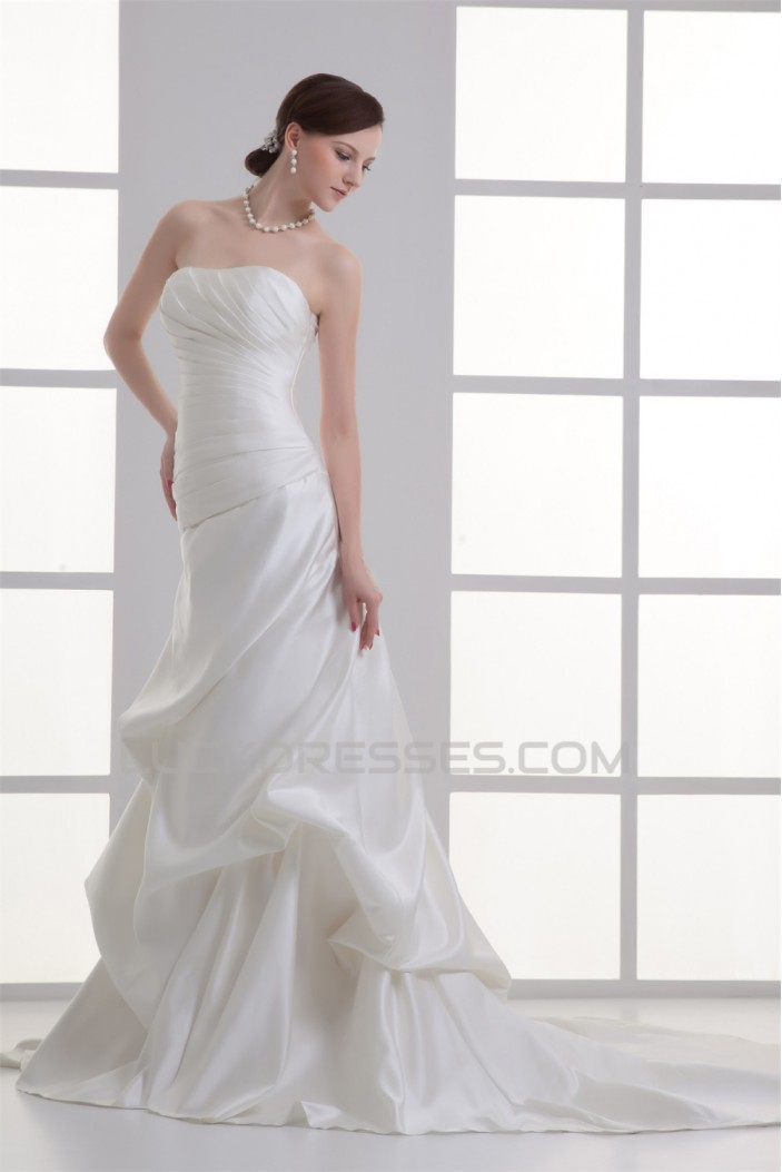 A-Line Strapless Satin Wedding Dresses 2031208