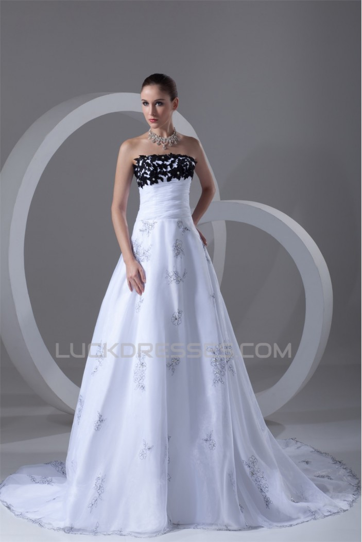Sleeveless Strapless A-Line Satin Organza Wedding Dresses 2031209