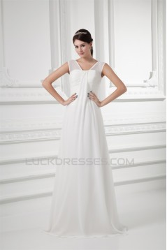 Sleeveless V-Neck Chiffon Elastic Woven Satin Wedding Dresses 2031210