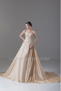 A-Line Taffeta Sweetheart Sleeveless Wedding Dresses with A Lace Jacket 2031211