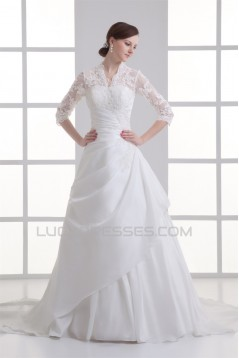 Great Ball Gown 3/4 Length Sleeve Taffeta Lace V-Neck Wedding Dresses 2031212