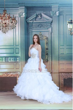 Great Ball Gown Sweetheart Satin Sleeveless Wedding Dresses 2031213
