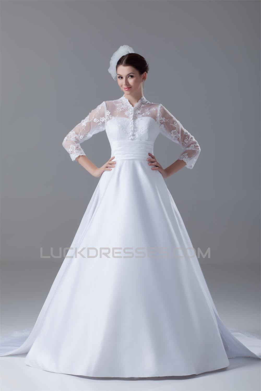 Great Long Sleeve High Neck Satin Lace A Line Wedding Dresses 2031214,Pakistani Wedding Maxi Dresses New Look