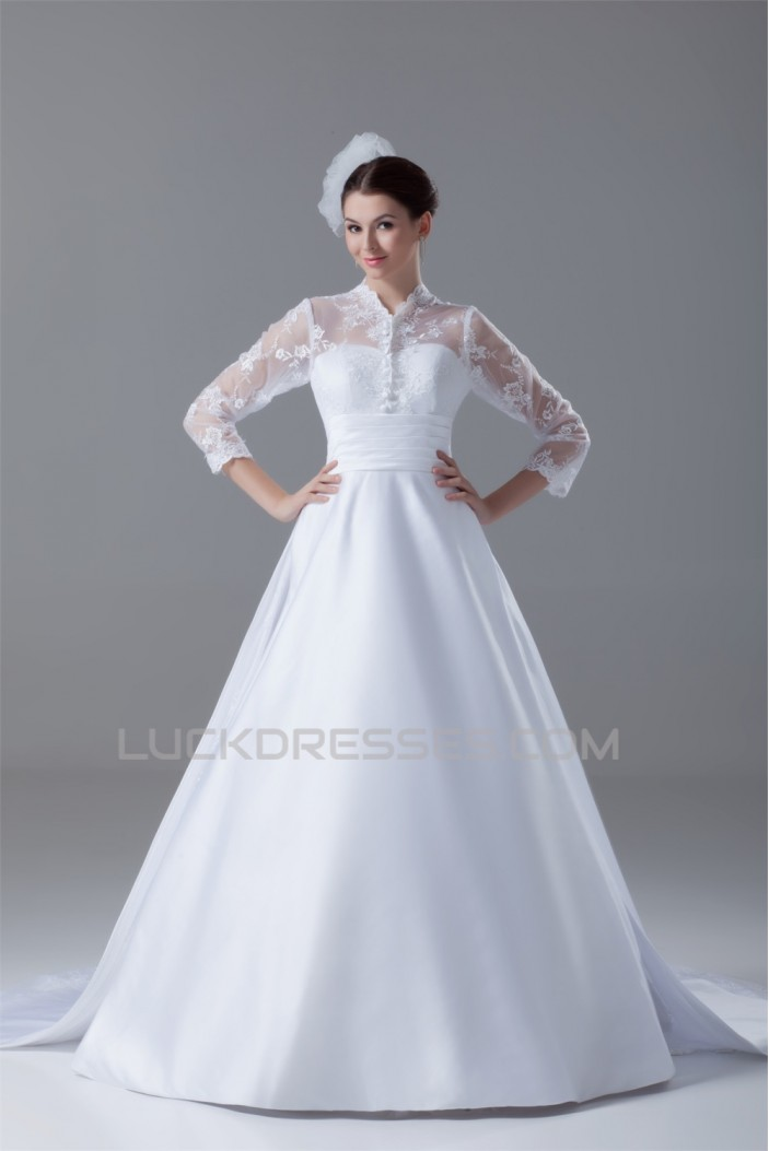 Great Long Sleeve High-Neck Satin Lace A-Line Wedding Dresses 2031214