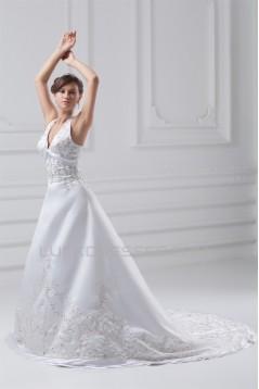 Great Satin A-Line Halter Sleeveless Wedding Dresses 2031215
