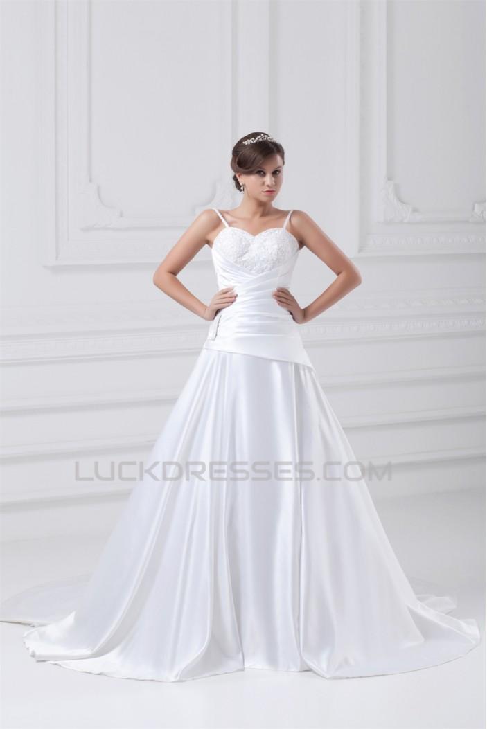 Great Sleeveless A-Line Satin Spaghetti Straps Lace Wedding Dresses 2031216