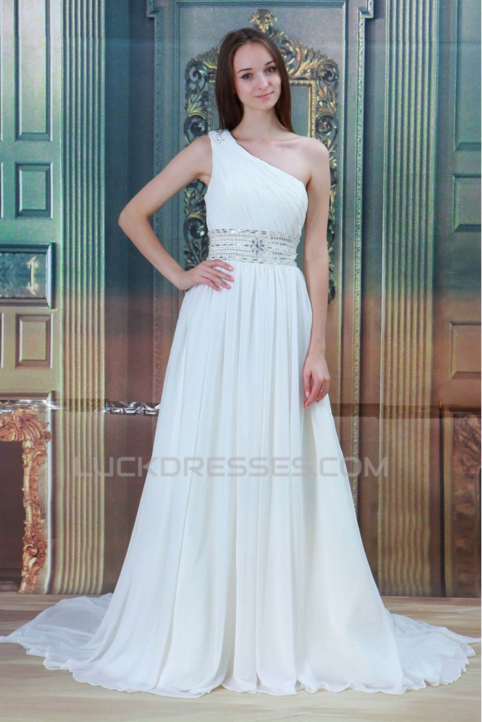 Great Sleeveless Chiffon Satin One-Shoulder A-Line Beaded Wedding Dresses 2031217