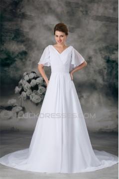 Half Elbow Sleeve A-Line V-Neck Chiffon Satin Beaded Wedding Dresses 2031218