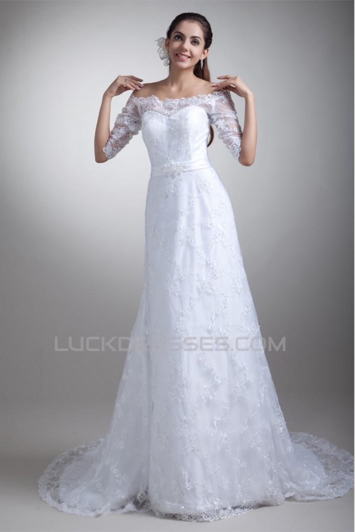 Half Elbow Sleeve Satin Lace A-Line Off-the-Shoulder Embellished Wedding Dresses 2031219