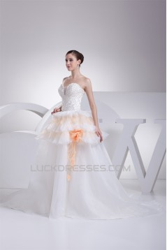 Elegant Satin Organza Fine Netting A-Line Beaded Lace Wedding Dresses 2030122