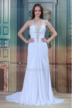 Halter Sleeveless Chiffon Satin Sheath/Column Beaded Wedding Dresses 2031221
