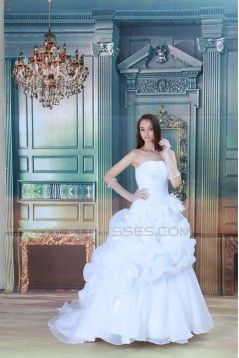 Hot Sale Strapless A-Line Satin Sleeveless New Arrival Wedding Dresses 2031223