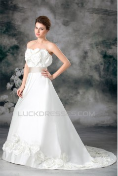 Hot Sale Strapless Satin Sleeveless A-Line New Arrival Wedding Dresses 2031224