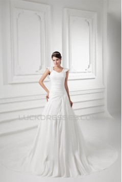 Latest Design Bowl Taffeta A-Line New Arrival Wedding Dresses 2031227
