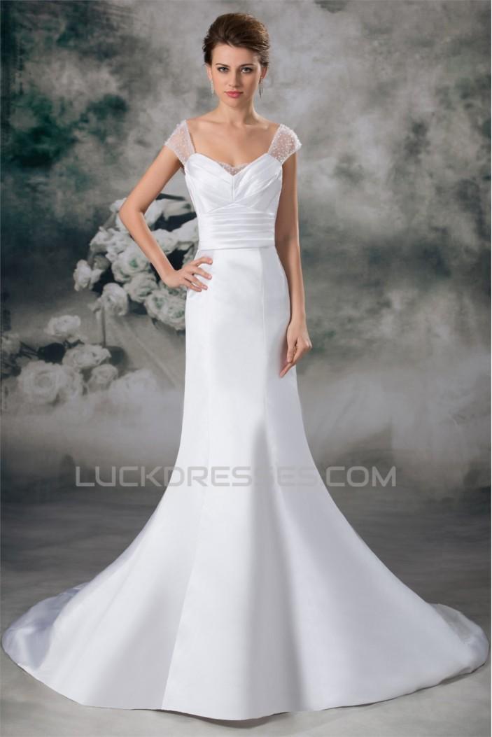 Latest Design Cowl Mermaid/Trumpet Satin Beaded Wedding Dresses 2031229