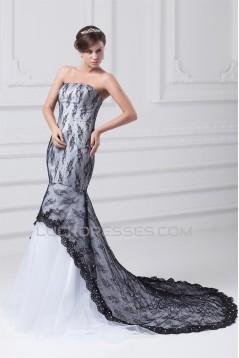 Mermaid/Trumpet Beading Satin Lace Tulle Wedding Dresses 2031230