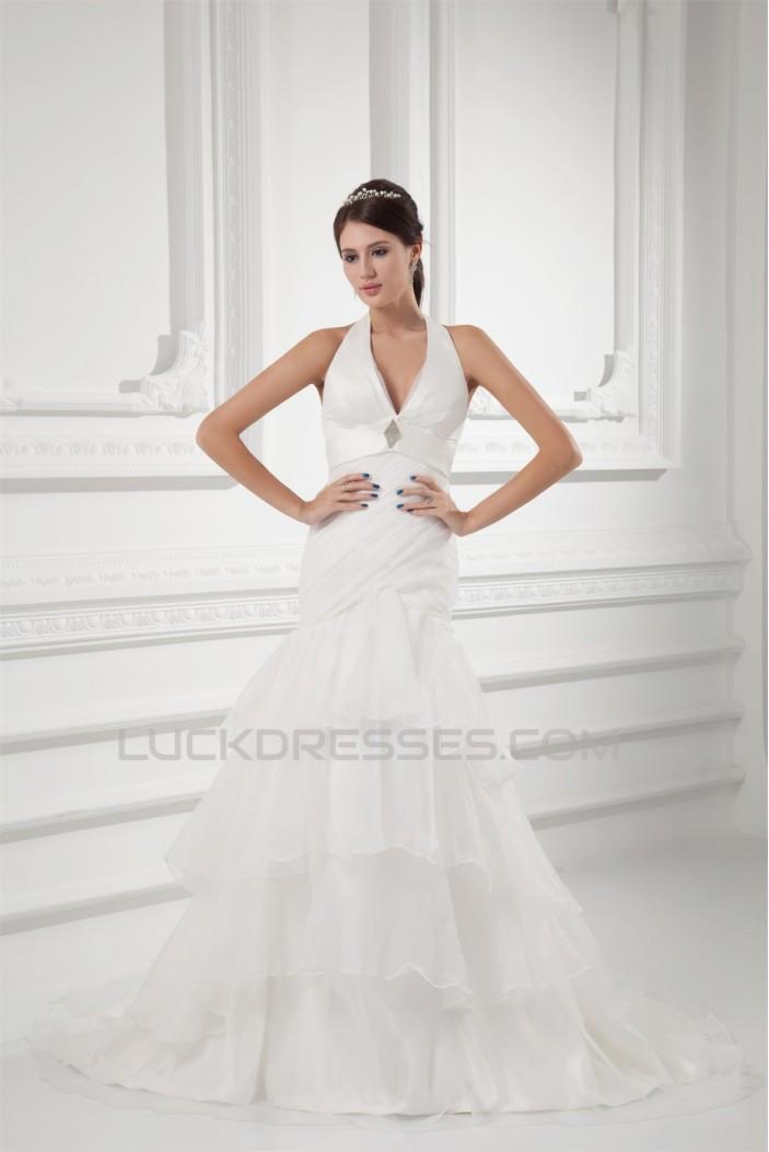 Mermaid/Trumpet Satin Organza Sleeveless New Arrival Wedding Dresses 2031231