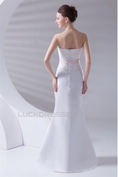 Mermaid/Trumpet Satin Sleeveless Soft Sweetheart Lace Wedding Dresses 2031232