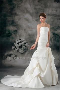 Mermaid/Trumpet Satin Strapless Sleeveless New Arrival Wedding Dresses 2031233