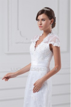 Mermaid/Trumpet Short Sleeve V-Neck Satin Lace Wedding Dresses 2031234