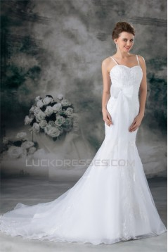 Mermaid/Trumpet Sleeveless Satin Lace Organza New Arrival Wedding Dresses 2031235