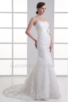 Mermaid/Trumpet Sleeveless Satin Lace Soft Sweetheart Wedding Dresses 2031236