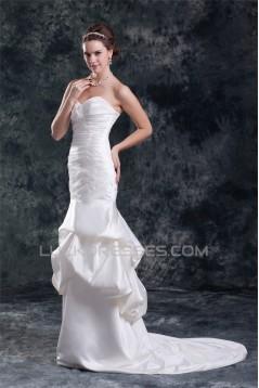 Mermaid/Trumpet Sleeveless Satin Sweetheart New Arrival Wedding Dresses 2031237