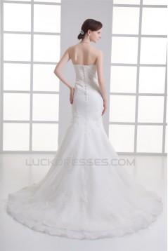 Mermaid/Trumpet Sleeveless Strapless Satin Fine Netting Wedding Dresses 2031238