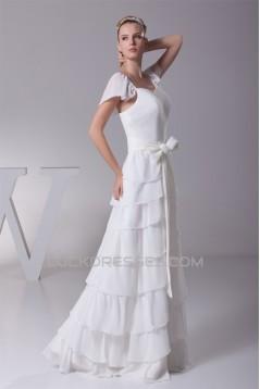 Elegant Sheath/Column Chiffon Cap Sleeve Wedding Dresses 2030124