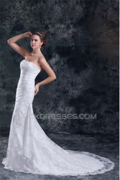 Mermaid/Trumpet Strapless Satin Lace Sleeveless New Arrival Wedding Dresses 2031240