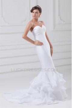 Mermaid/Trumpet Sweetheart Sleeveless Organza Taffeta Wedding Dresses 2031241