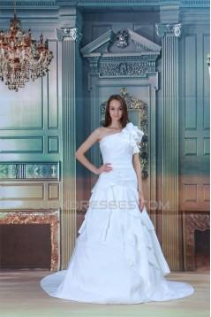 New Arrival A-Line Sleeveless Satin Taffeta One-Shoulder Wedding Dresses 2031242