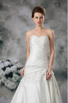 New Arrival A-Line Sweetheart Sleeveless Satin Beaded Lace Wedding Dresses 2031244