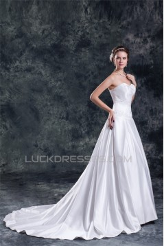 New Arrival Satin A-Line Sleeveless Sweetheart Wedding Dresses 2031246