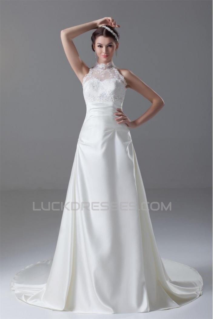 New Arrival Satin Lace A-Line High-Neck Sleeveless Wedding Dresses 2031247