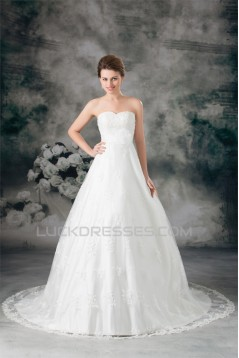 New Arrival Satin Lace Sweetheart A-Line Sleeveless Wedding Dresses 2031248