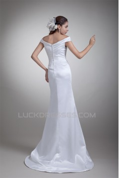 New Arrival Satin Mermaid/Trumpet Sleeveless V-Neck Wedding Dresses 2031249