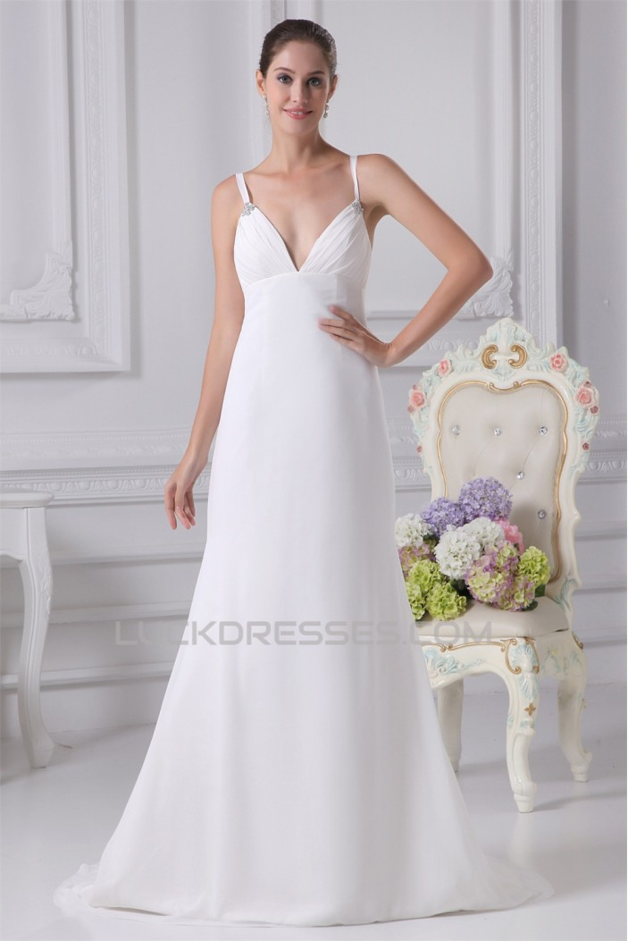 Trumpet/Mermaid Spaghetti Straps Chiffon Wedding Dresses 2030125