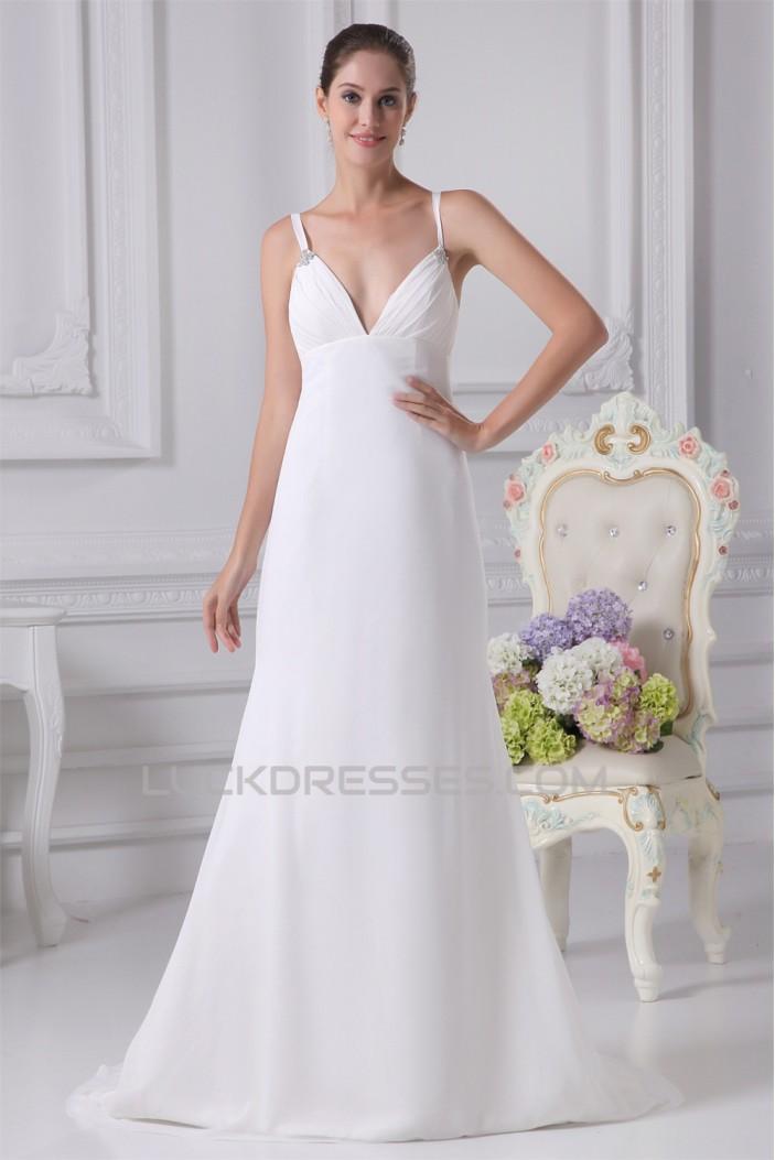 Trumpet/Mermaid Spaghetti Straps Chiffon Wedding Dresses 2030125