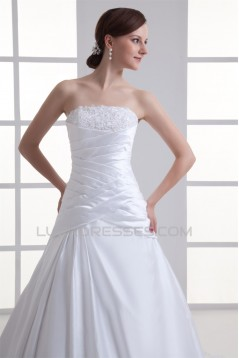 New Arrival Sleeveless Strapless Satin A-Line Wedding Dresses 2031251