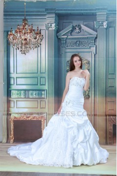 New Arrival Strapless Satin Lace A-Line Sleeveless Wedding Dresses 2031252