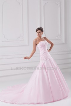 New Arrival Sweetheart Satin A-Line Sleeveless Wedding Dresses 2031254