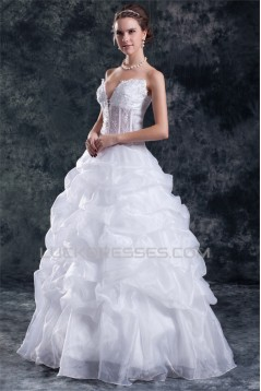 New Arrival V-Neck Ball Gown Satin Organza Sleeveless Wedding Dresses 2031255