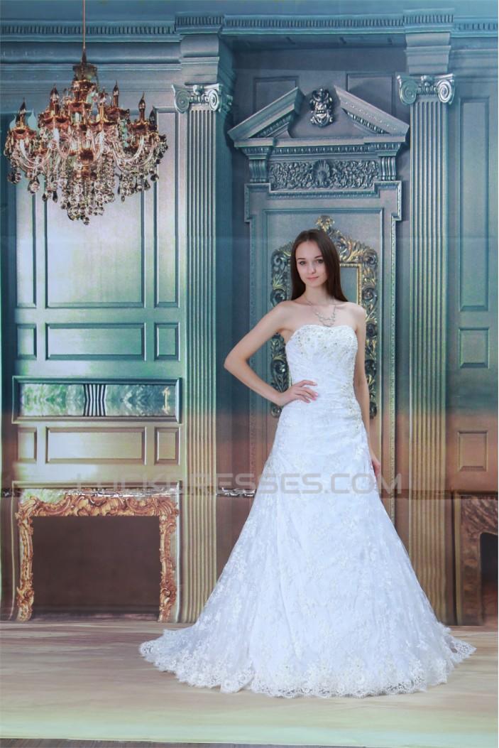 New design A-Line Satin Lace Soft Sweetheart Sleeveless Wedding Dresses 2031256